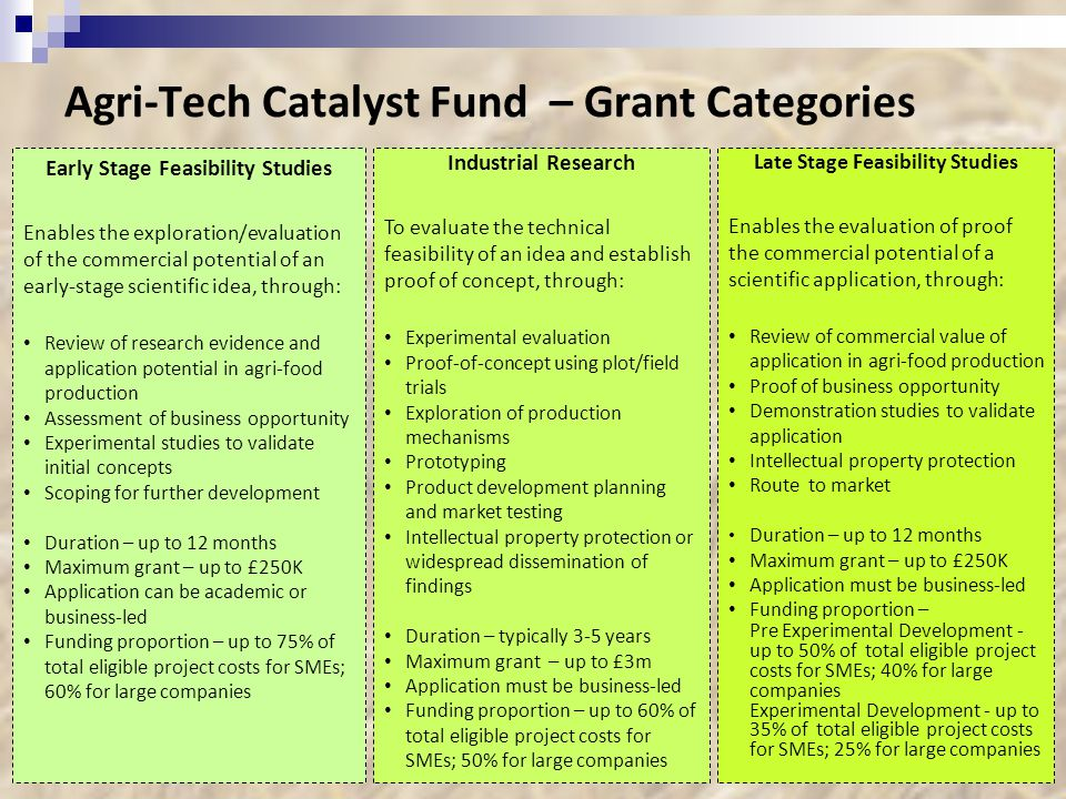 Agri-Tech Catalyst Fund – Grant Categories 19 Industrial Research To evaluate the technical feasibility of an idea and establish proof of concept, through: Experimental evaluation Proof-of-concept using plot/field trials Exploration of production mechanisms Prototyping Product development planning and market testing Intellectual property protection or widespread dissemination of findings Duration – typically 3-5 years Maximum grant – up to £3m Application must be business-led Funding proportion – up to 60% of total eligible project costs for SMEs; 50% for large companies Late Stage Feasibility Studies Enables the evaluation of proof the commercial potential of a scientific application, through: Review of commercial value of application in agri-food production Proof of business opportunity Demonstration studies to validate application Intellectual property protection Route to market Duration – up to 12 months Maximum grant – up to £250K Application must be business-led Funding proportion – Pre Experimental Development - up to 50% of total eligible project costs for SMEs; 40% for large companies Experimental Development - up to 35% of total eligible project costs for SMEs; 25% for large companies Early Stage Feasibility Studies Enables the exploration/evaluation of the commercial potential of an early-stage scientific idea, through: Review of research evidence and application potential in agri-food production Assessment of business opportunity Experimental studies to validate initial concepts Scoping for further development Duration – up to 12 months Maximum grant – up to £250K Application can be academic or business-led Funding proportion – up to 75% of total eligible project costs for SMEs; 60% for large companies