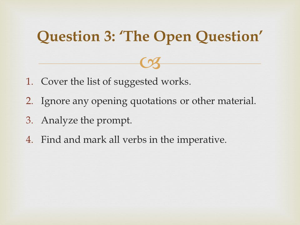  1.Cover the list of suggested works. 2.Ignore any opening quotations or other material.