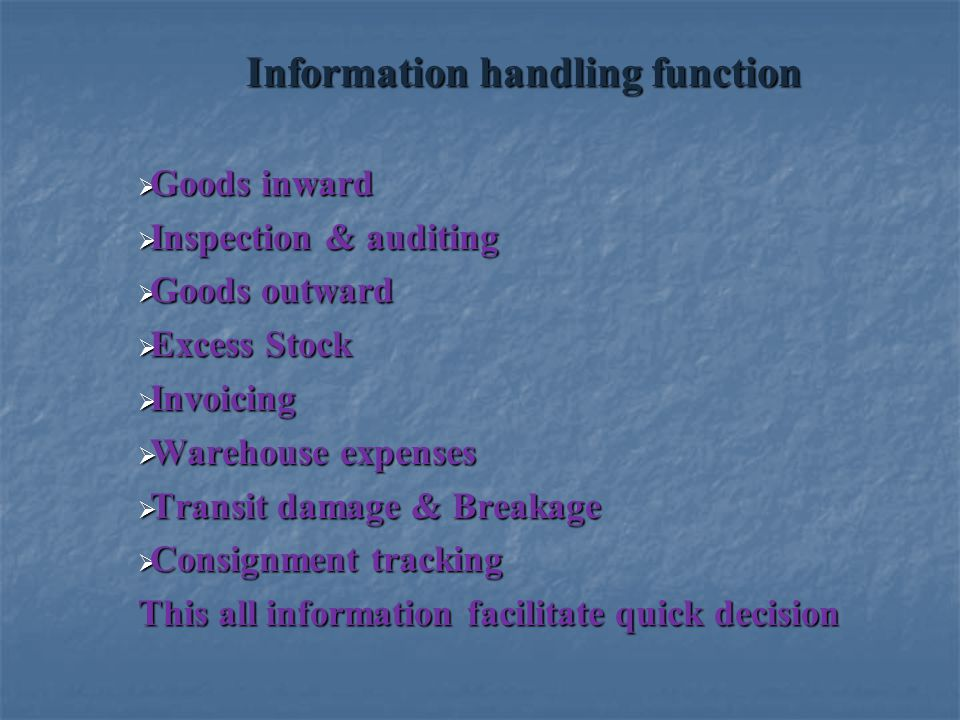 Information handling function  Goods inward  Inspection & auditing  Goods outward  Excess Stock  Invoicing  Warehouse expenses  Transit damage