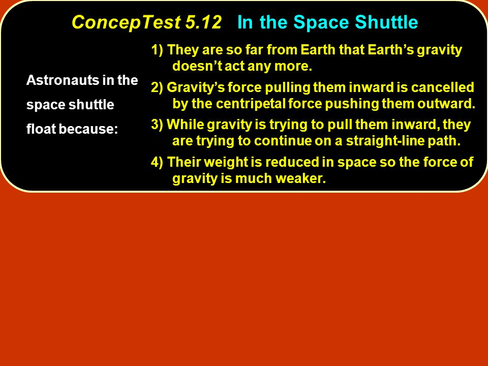 ConcepTest 5.12In the Space Shuttle ConcepTest 5.12 In the Space Shuttle Astronauts in the space shuttle float because: 1) They are so far from Earth
