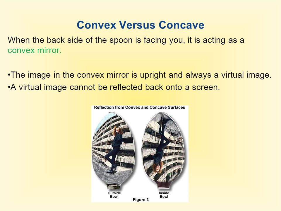 Convex Versus Concave When the back side of the spoon is facing you, it is acting as a convex mirror.