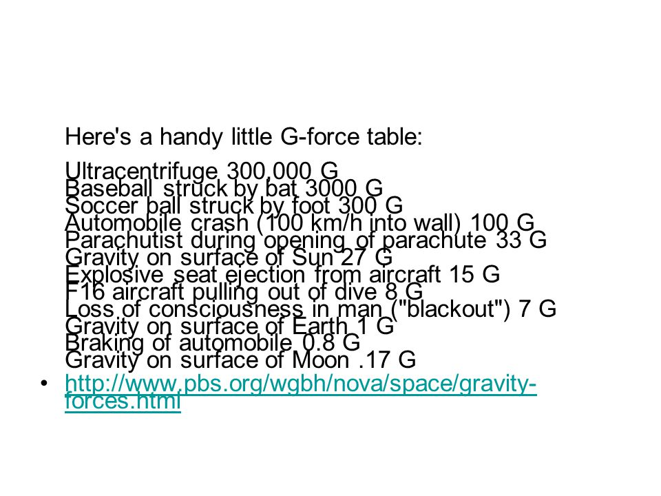 Here s a handy little G-force table: Ultracentrifuge 300,000 G Baseball struck by bat 3000 G Soccer ball struck by foot 300 G Automobile crash (100 km/h into wall) 100 G Parachutist during opening of parachute 33 G Gravity on surface of Sun 27 G Explosive seat ejection from aircraft 15 G F16 aircraft pulling out of dive 8 G Loss of consciousness in man ( blackout ) 7 G Gravity on surface of Earth 1 G Braking of automobile 0.8 G Gravity on surface of Moon.17 G http://www.pbs.org/wgbh/nova/space/gravity- forces.htmlhttp://www.pbs.org/wgbh/nova/space/gravity- forces.html