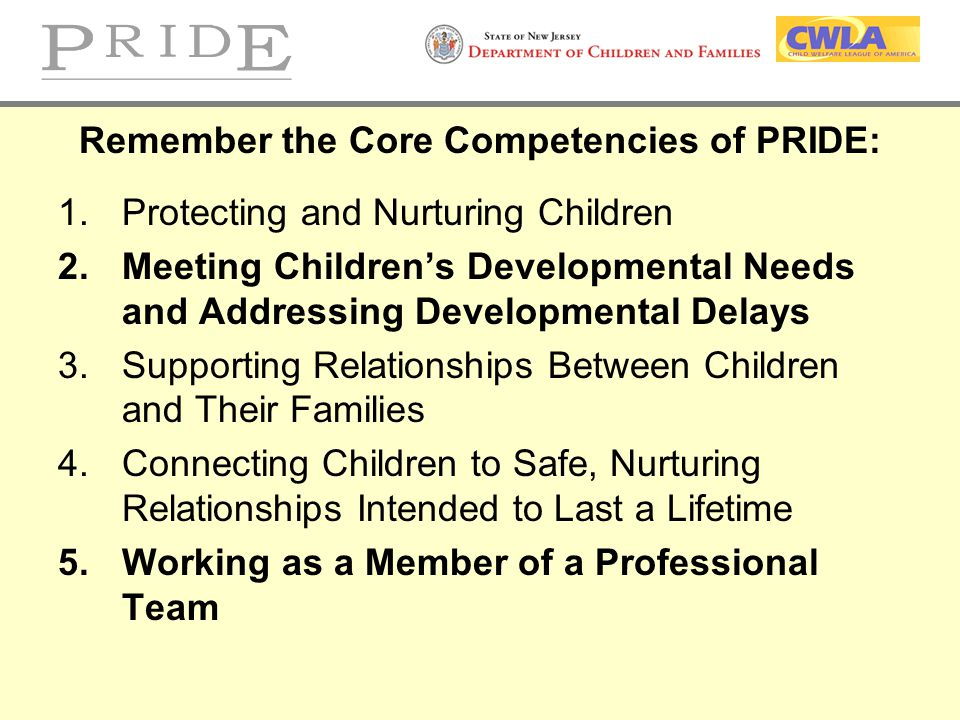 Remember the Core Competencies of PRIDE: 1.Protecting and Nurturing Children 2.Meeting Children's Developmental Needs and Addressing Developmental Del