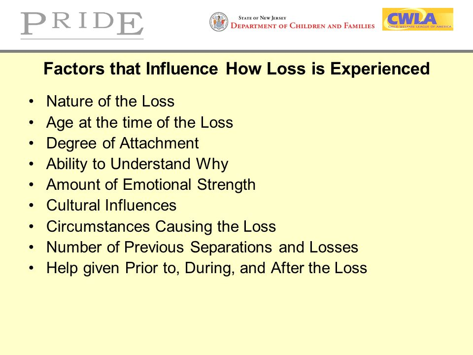 Factors that Influence How Loss is Experienced Nature of the Loss Age at the time of the Loss Degree of Attachment Ability to Understand Why Amount of