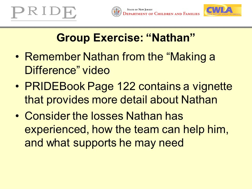 """Group Exercise: """"Nathan"""" Remember Nathan from the """"Making a Difference"""" video PRIDEBook Page 122 contains a vignette that provides more detail about N"""