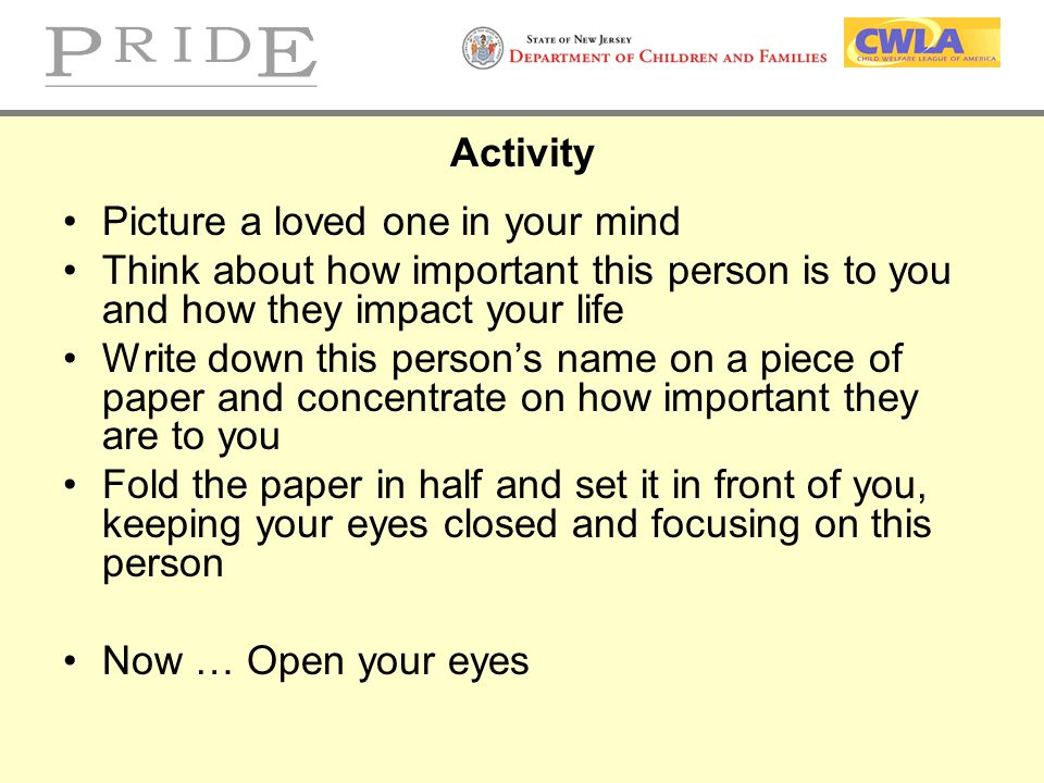 Activity Picture a loved one in your mind Think about how important this person is to you and how they impact your life Write down this person's name