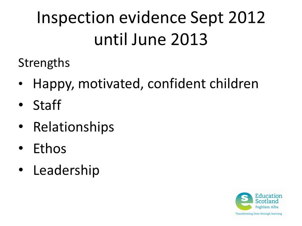 Inspection evidence Sept 2012 until June 2013 Strengths Happy, motivated, confident children Staff Relationships Ethos Leadership