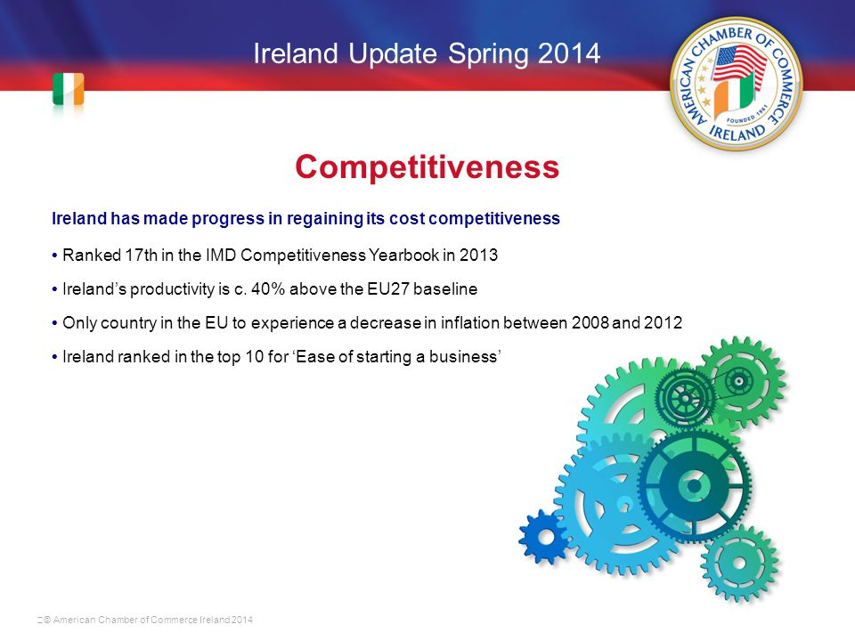 Ireland Update Spring 2014 Competitiveness Ireland has made progress in regaining its cost competitiveness Ranked 17th in the IMD Competitiveness Yearbook in 2013 Ireland's productivity is c.