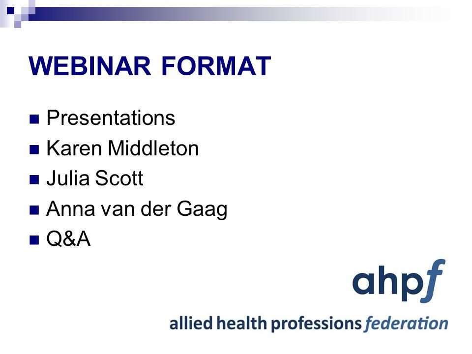 WEBINAR FORMAT Presentations Karen Middleton Julia Scott Anna van der Gaag Q&A
