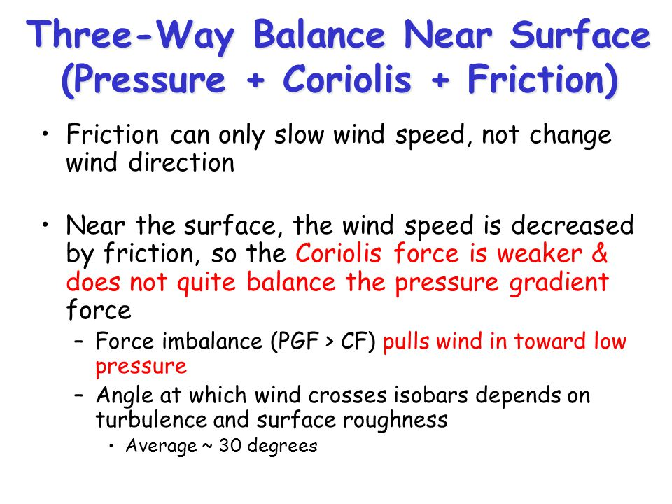 Three-Way Balance Near Surface (Pressure + Coriolis + Friction) Friction can only slow wind speed, not change wind direction Near the surface, the win