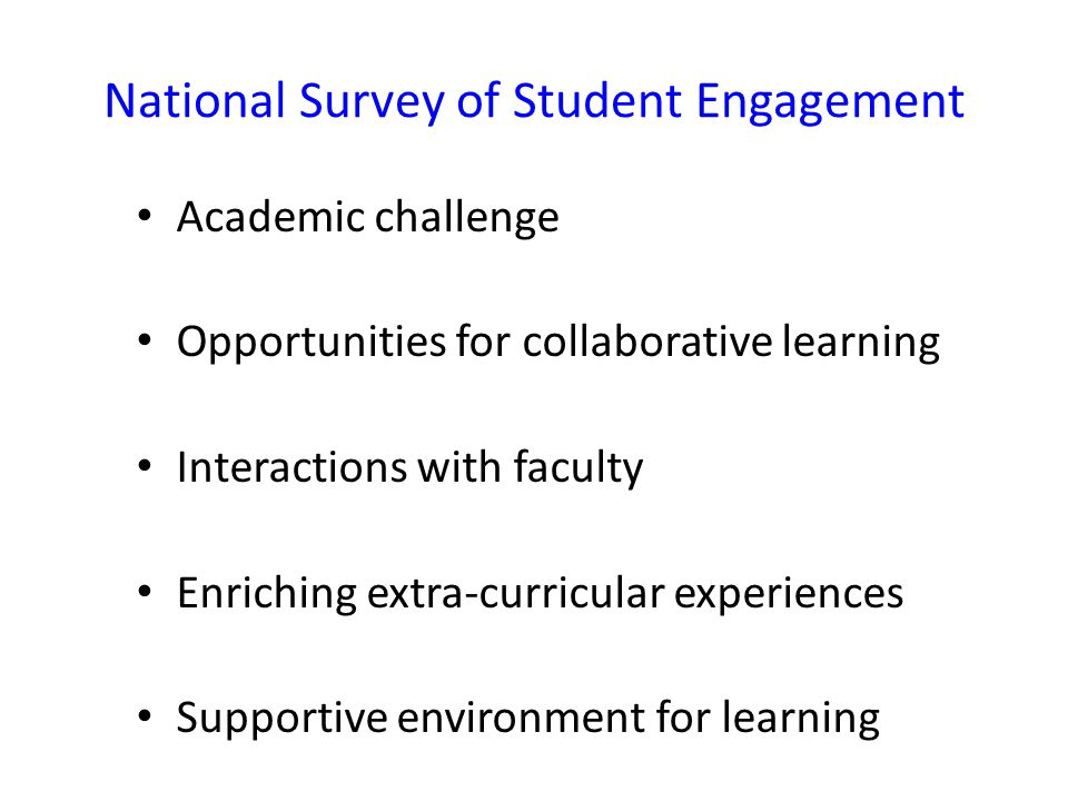 National Survey of Student Engagement Academic challenge Opportunities for collaborative learning Interactions with faculty Enriching extra-curricular experiences Supportive environment for learning