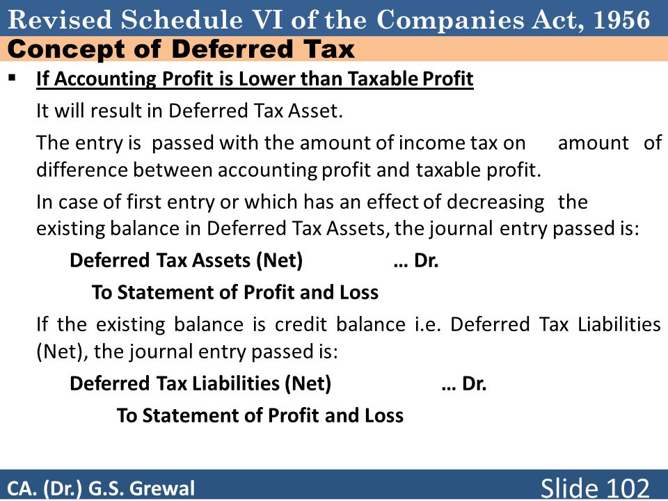 Revised Schedule VI of the Companies Act, 1956 Concept of Deferred Tax  If Accounting Profit is Lower than Taxable Profit It will result in Deferred Tax Asset.