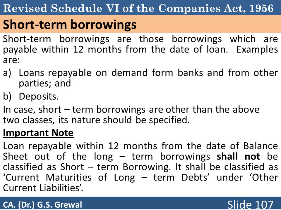 Revised Schedule VI of the Companies Act, 1956 Short-term borrowings Short-term borrowings are those borrowings which are payable within 12 months from the date of loan.