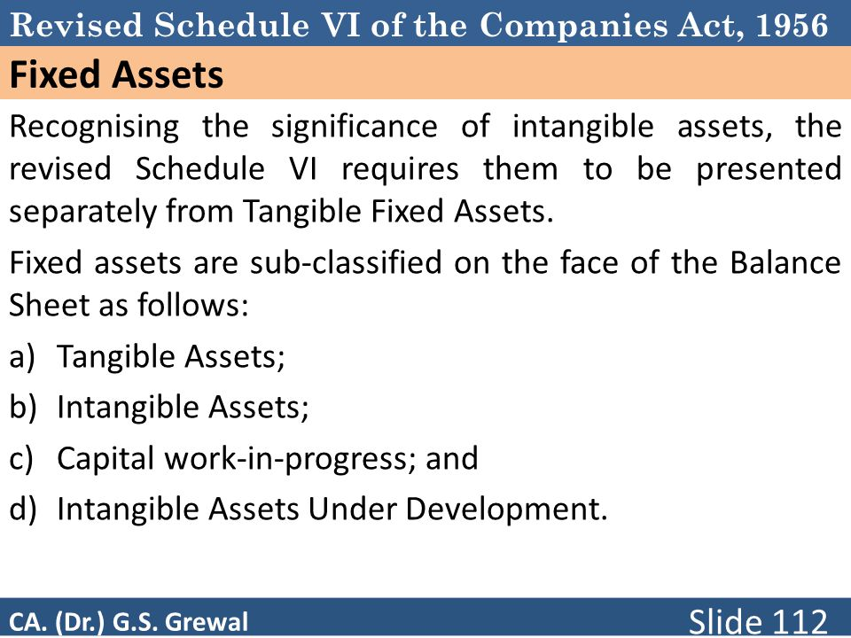 Revised Schedule VI of the Companies Act, 1956 Fixed Assets Recognising the significance of intangible assets, the revised Schedule VI requires them to be presented separately from Tangible Fixed Assets.