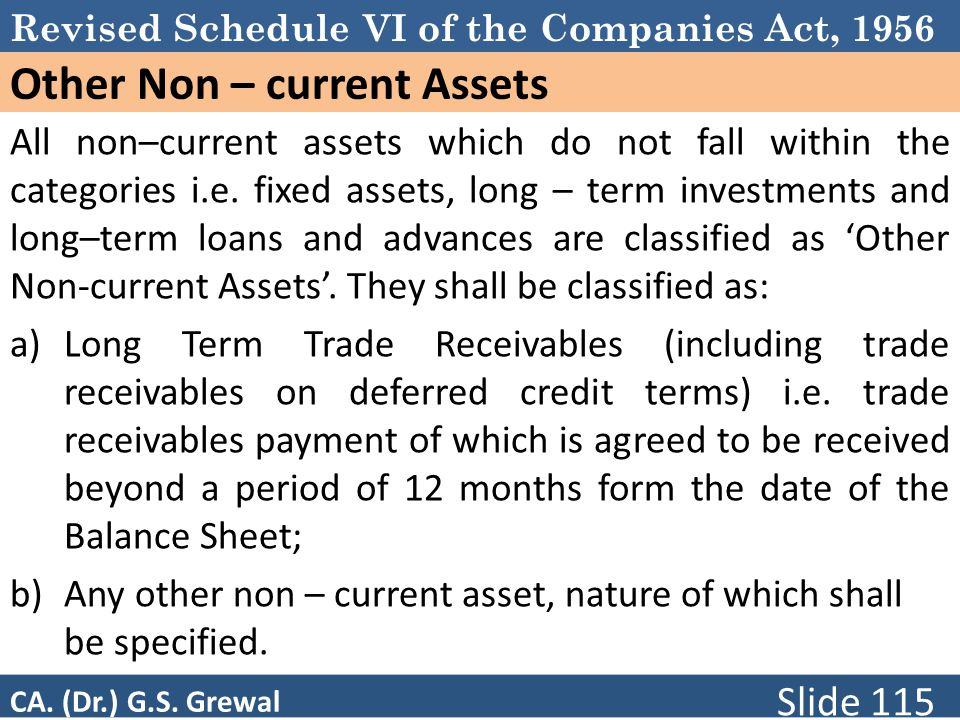 Revised Schedule VI of the Companies Act, 1956 Other Non – current Assets All non–current assets which do not fall within the categories i.e. fixed as