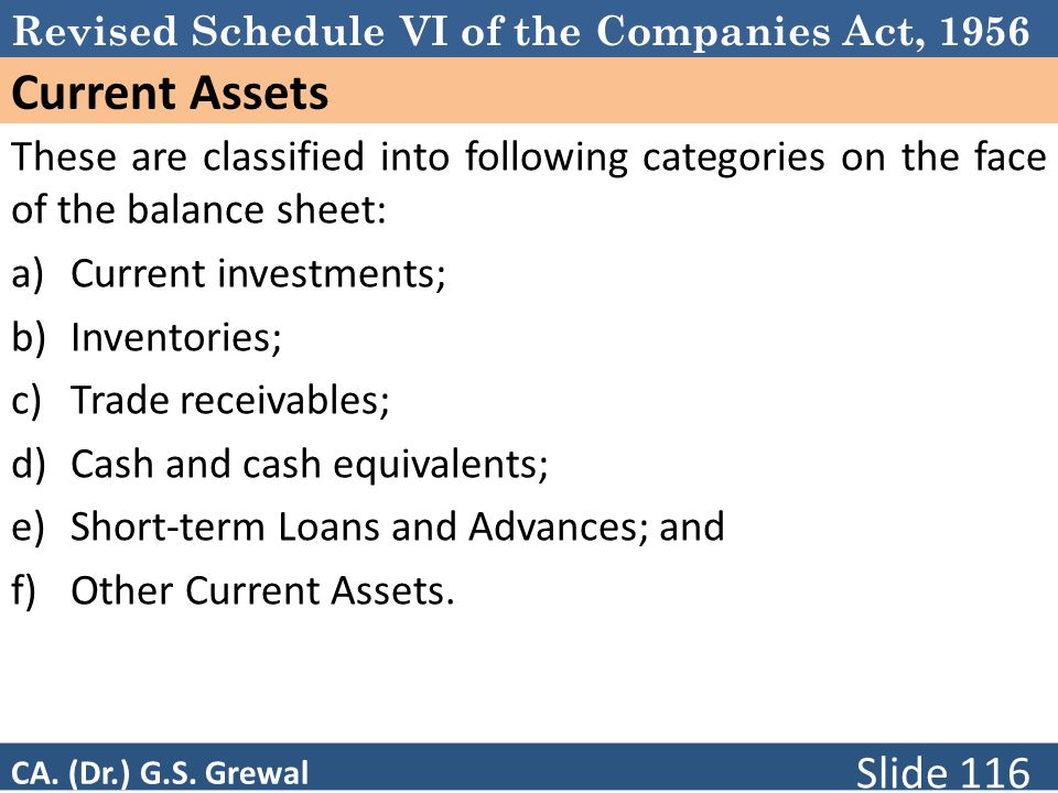 Revised Schedule VI of the Companies Act, 1956 Current Assets These are classified into following categories on the face of the balance sheet: a)Current investments; b)Inventories; c)Trade receivables; d)Cash and cash equivalents; e)Short-term Loans and Advances; and f)Other Current Assets.