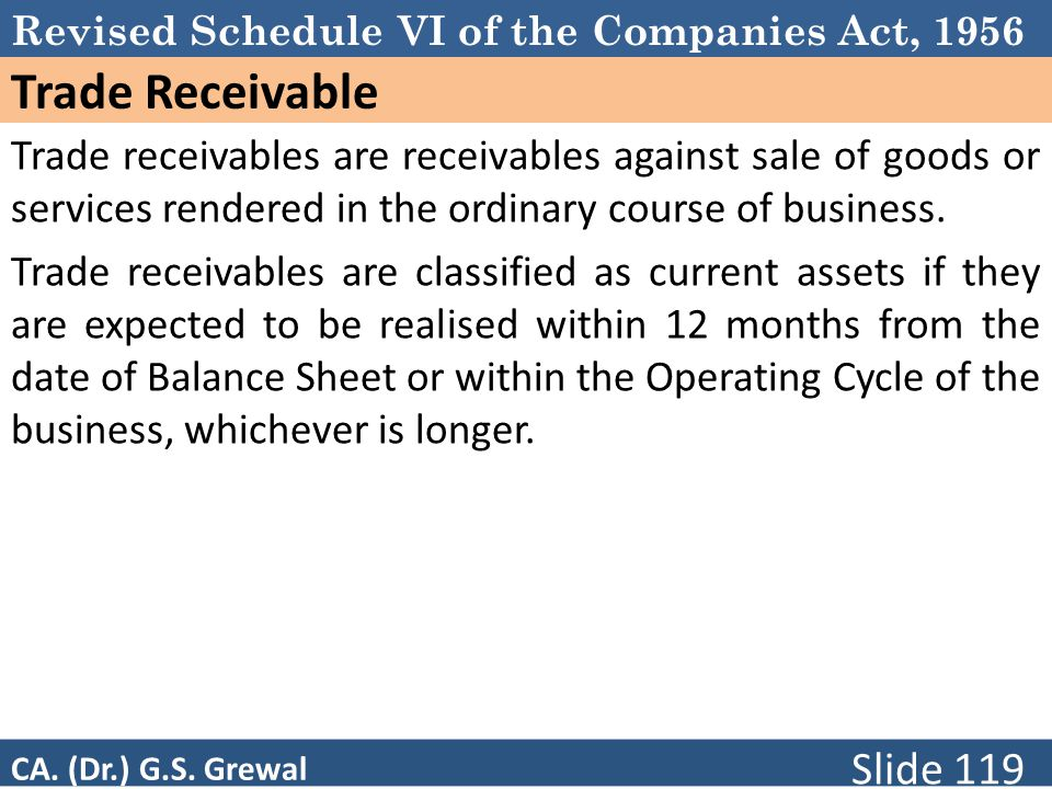 Revised Schedule VI of the Companies Act, 1956 Trade Receivable Trade receivables are receivables against sale of goods or services rendered in the ordinary course of business.