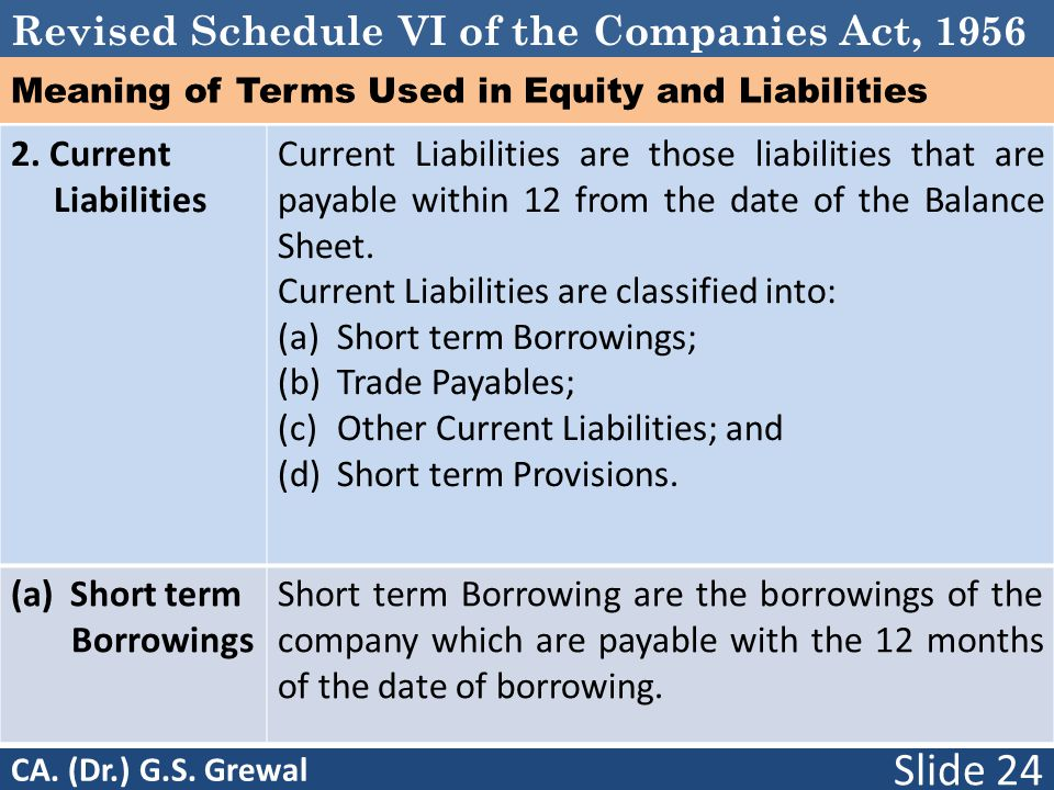 Revised Schedule VI of the Companies Act, 1956 Meaning of Terms Used in Equity and Liabilities 2. Current Liabilities Current Liabilities are those li