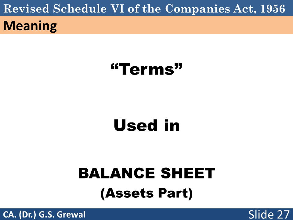 Revised Schedule VI of the Companies Act, 1956 Meaning Terms Used in BALANCE SHEET (Assets Part) Slide 27 CA.