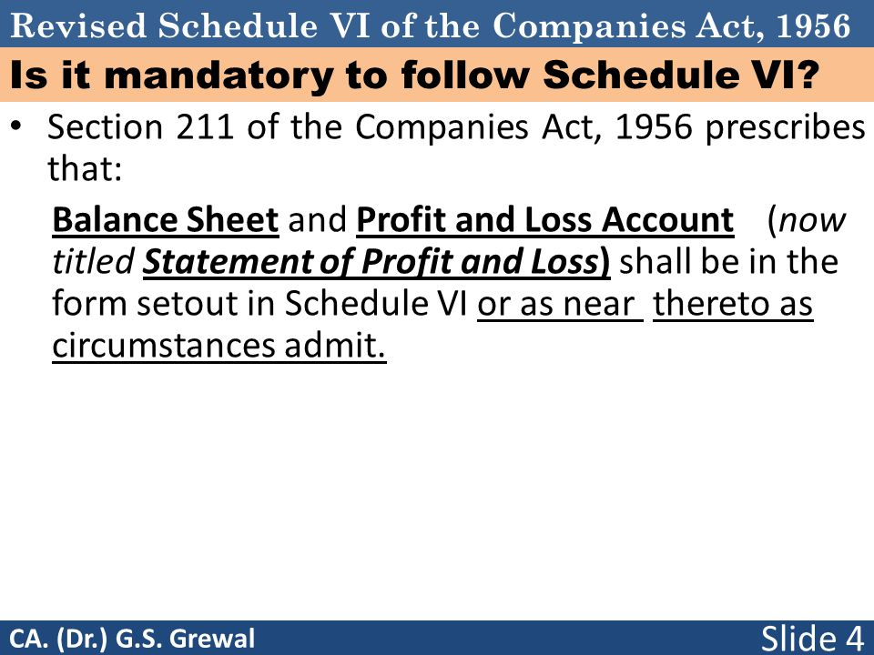 Revised Schedule VI of the Companies Act, 1956 Is it mandatory to follow Schedule VI? Section 211 of the Companies Act, 1956 prescribes that: Balance