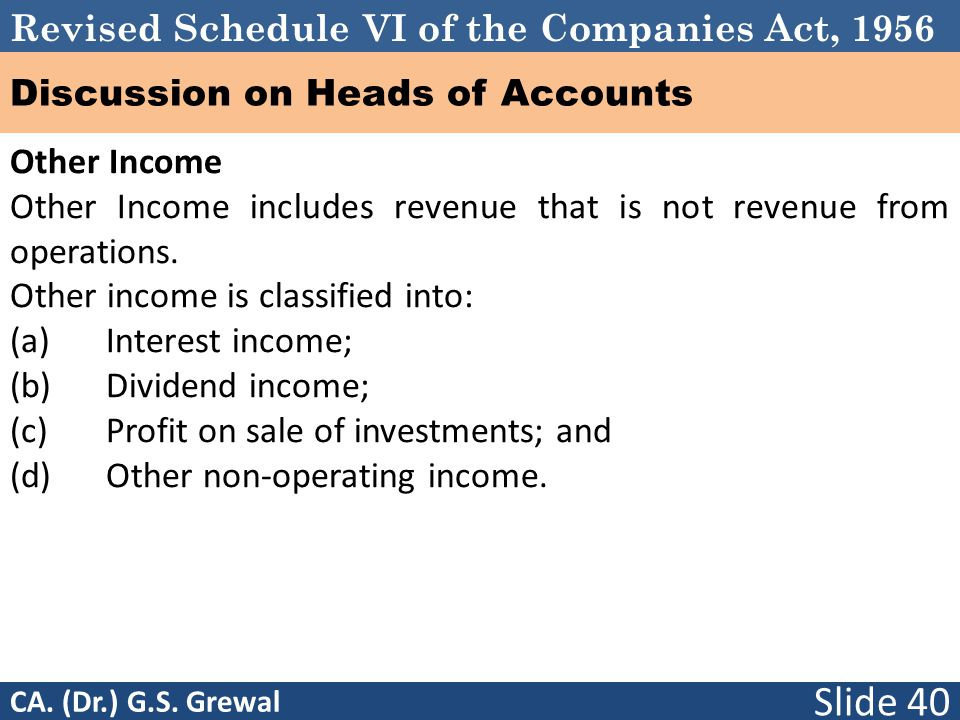 Revised Schedule VI of the Companies Act, 1956 Discussion on Heads of Accounts Other Income Other Income includes revenue that is not revenue from operations.
