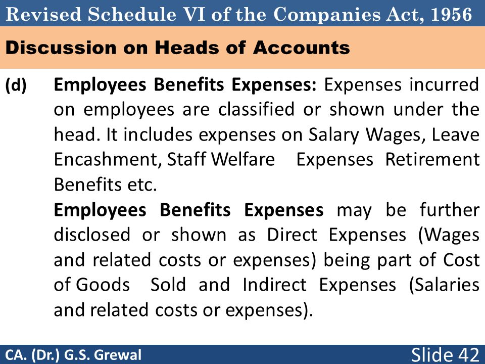 Revised Schedule VI of the Companies Act, 1956 Discussion on Heads of Accounts (d) Employees Benefits Expenses: Expenses incurred on employees are classified or shown under the head.