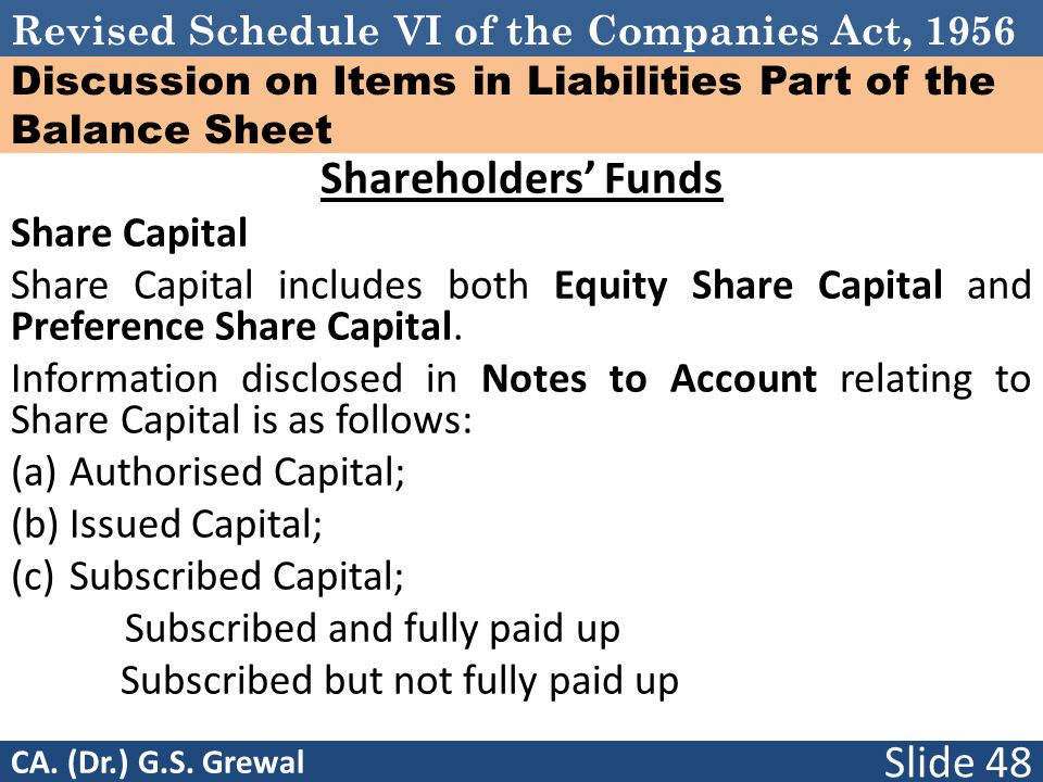 Revised Schedule VI of the Companies Act, 1956 Discussion on Items in Liabilities Part of the Balance Sheet Shareholders' Funds Share Capital Share Ca