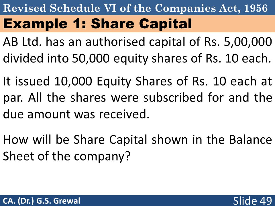 Revised Schedule VI of the Companies Act, 1956 Example 1: Share Capital AB Ltd.