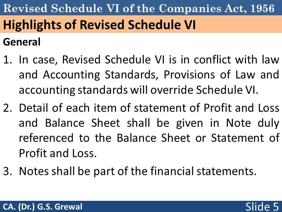 Revised Schedule VI of the Companies Act, 1956 Highlights of Revised Schedule VI General 1.In case, Revised Schedule VI is in conflict with law and Accounting Standards, Provisions of Law and accounting standards will override Schedule VI.