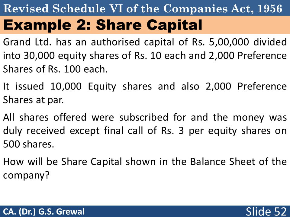 Revised Schedule VI of the Companies Act, 1956 Example 2: Share Capital Grand Ltd. has an authorised capital of Rs. 5,00,000 divided into 30,000 equit