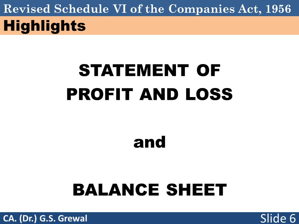 Revised Schedule VI of the Companies Act, 1956 Highlights STATEMENT OF PROFIT AND LOSS and BALANCE SHEET Slide 6 CA.