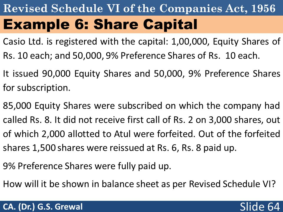 Revised Schedule VI of the Companies Act, 1956 Example 6: Share Capital Casio Ltd.