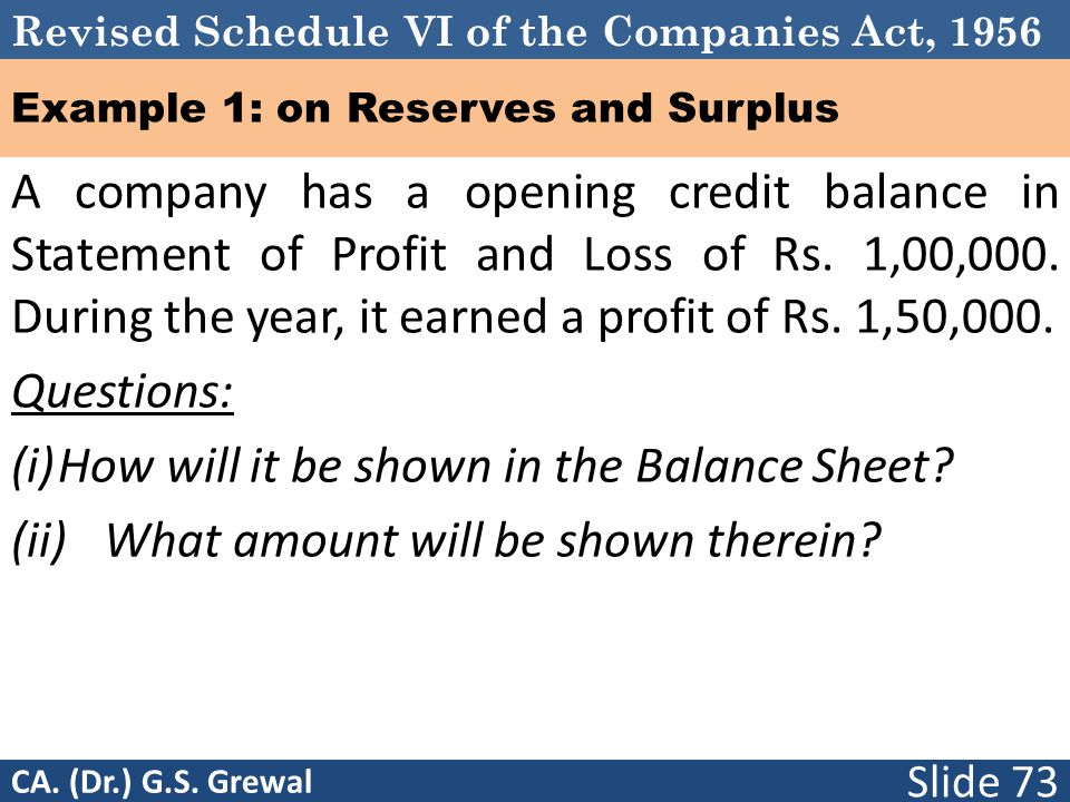 Revised Schedule VI of the Companies Act, 1956 Example 1: on Reserves and Surplus A company has a opening credit balance in Statement of Profit and Loss of Rs.