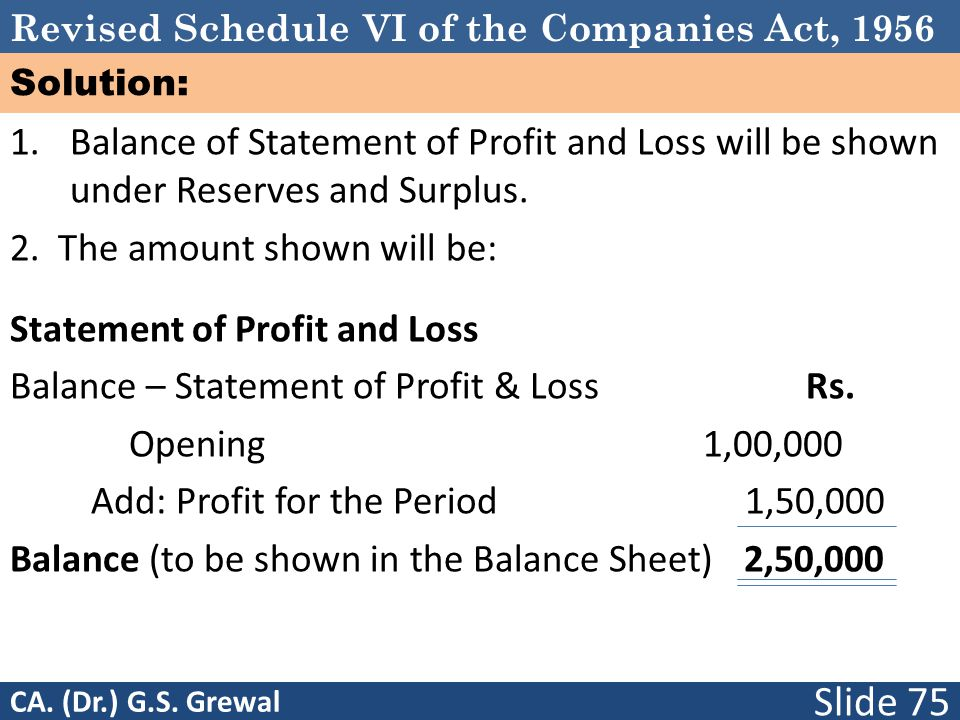 Revised Schedule VI of the Companies Act, 1956 Solution: 1. Balance of Statement of Profit and Loss will be shown under Reserves and Surplus. 2. The a