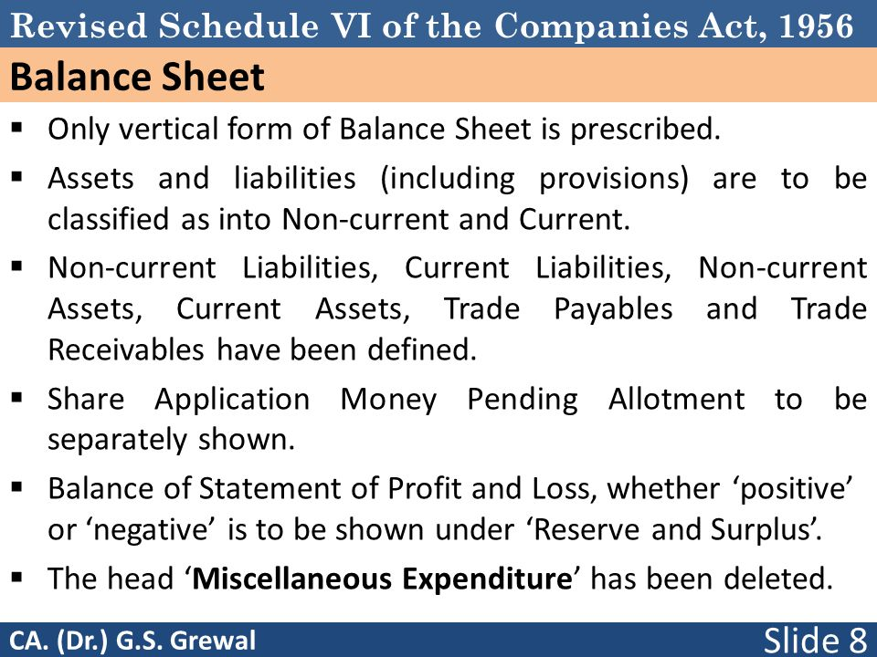 Revised Schedule VI of the Companies Act, 1956 Balance Sheet  Only vertical form of Balance Sheet is prescribed.  Assets and liabilities (including