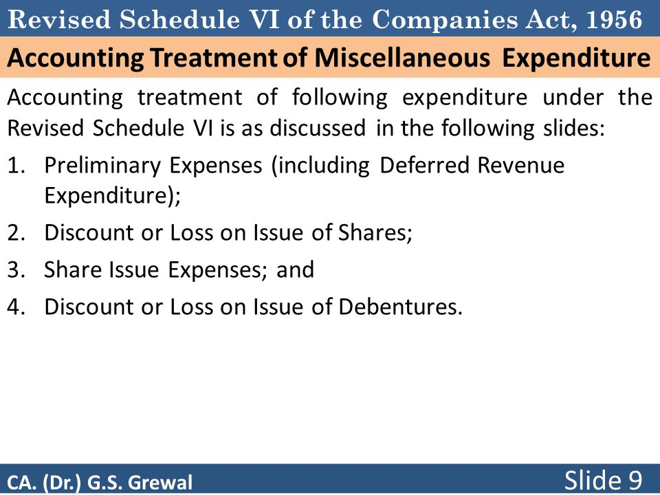 Revised Schedule VI of the Companies Act, 1956 Accounting Treatment of Miscellaneous Expenditure Accounting treatment of following expenditure under the Revised Schedule VI is as discussed in the following slides: 1.Preliminary Expenses (including Deferred Revenue Expenditure); 2.Discount or Loss on Issue of Shares; 3.Share Issue Expenses; and 4.Discount or Loss on Issue of Debentures.