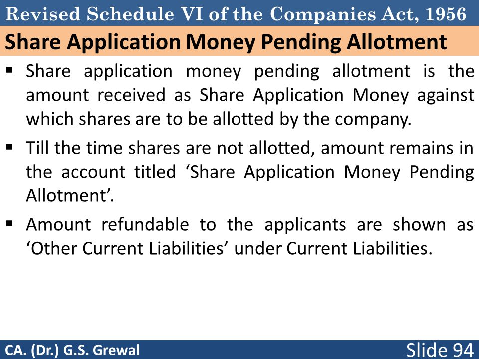 Revised Schedule VI of the Companies Act, 1956 Share Application Money Pending Allotment  Share application money pending allotment is the amount received as Share Application Money against which shares are to be allotted by the company.