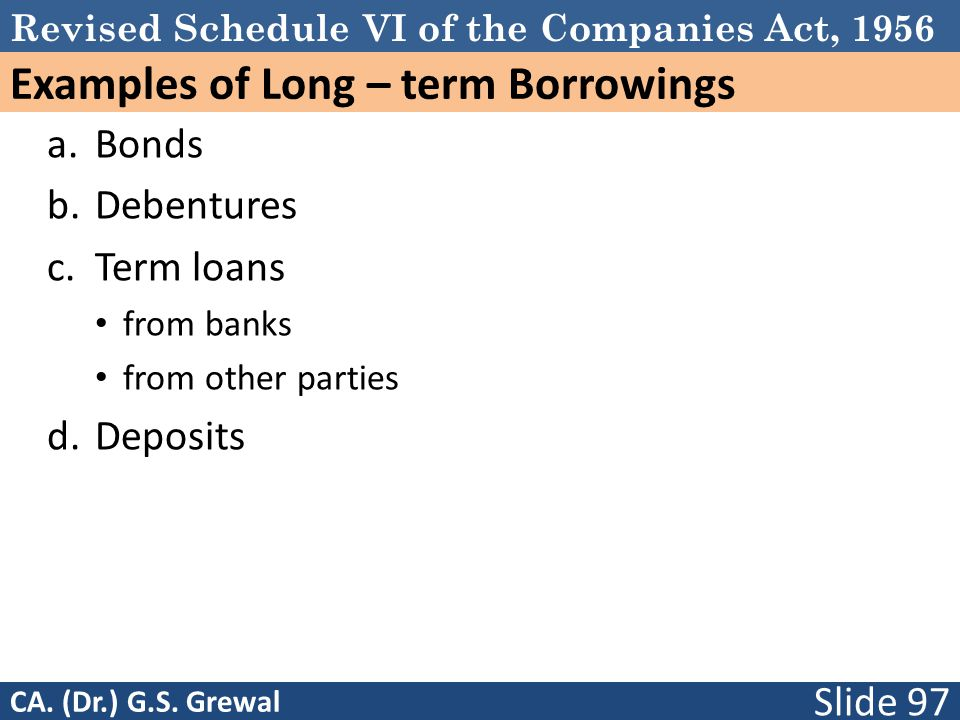 Revised Schedule VI of the Companies Act, 1956 Examples of Long – term Borrowings a.Bonds b.Debentures c.Term loans from banks from other parties d.Deposits Slide 97 CA.