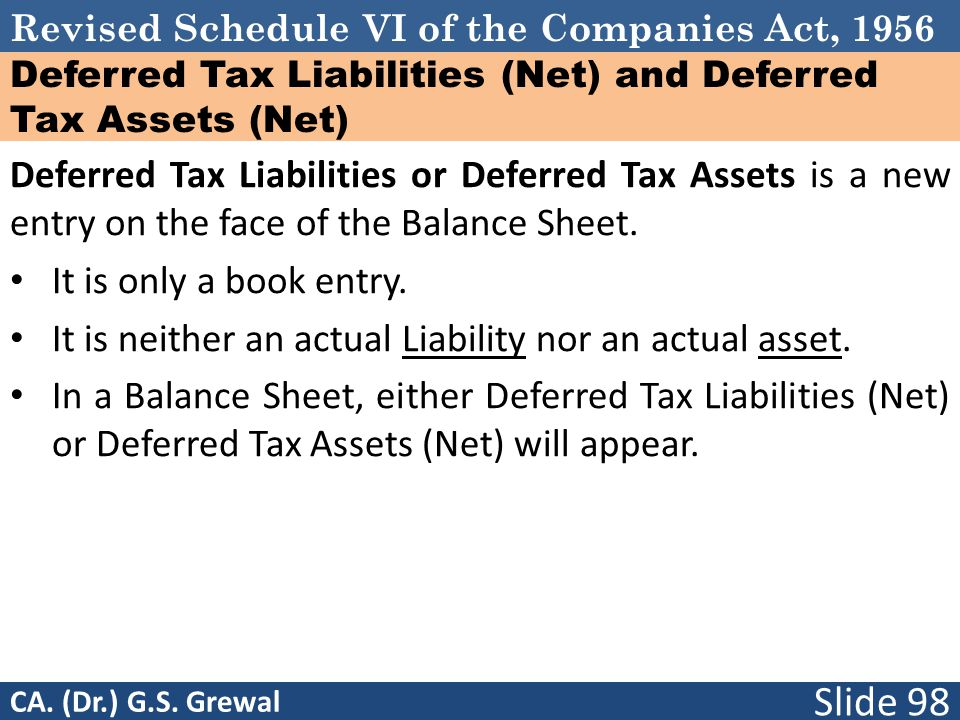 Revised Schedule VI of the Companies Act, 1956 Deferred Tax Liabilities (Net) and Deferred Tax Assets (Net) Deferred Tax Liabilities or Deferred Tax Assets is a new entry on the face of the Balance Sheet.