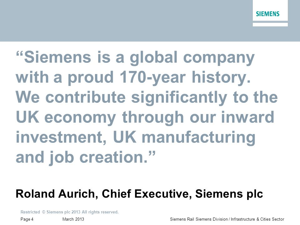March 2013 Restricted © Siemens plc 2013 All rights reserved.
