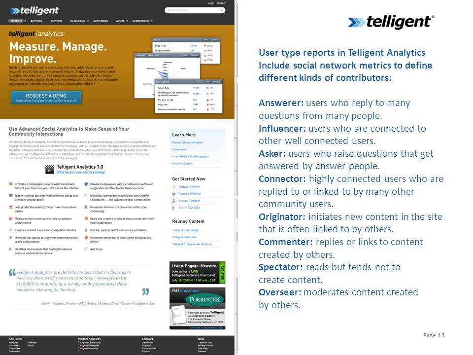 Page 13 User type reports in Telligent Analytics Include social network metrics to define different kinds of contributors: Answerer: users who reply to many questions from many people.
