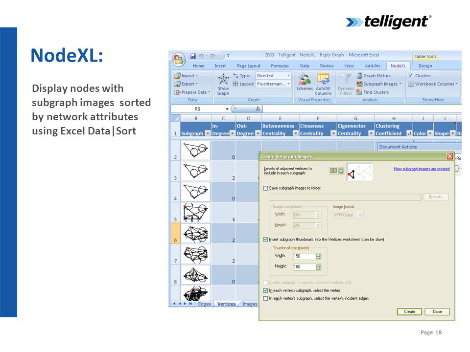 Page 18 NodeXL: Display nodes with subgraph images sorted by network attributes using Excel Data|Sort