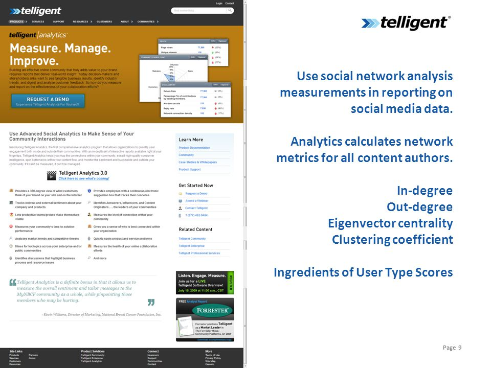 Page 9 Use social network analysis measurements in reporting on social media data.