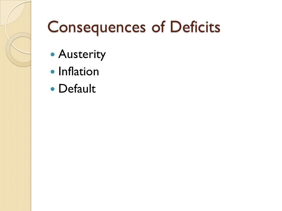 Consequences of Deficits Austerity Inflation Default