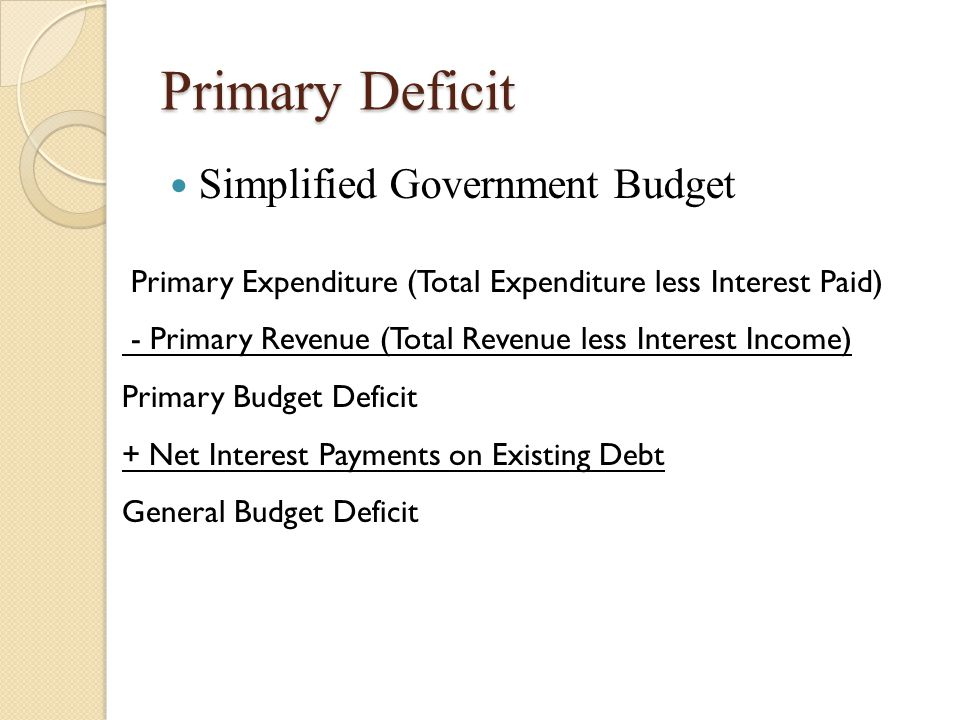Primary Deficit Simplified Government Budget Primary Expenditure (Total Expenditure less Interest Paid) - Primary Revenue (Total Revenue less Interest Income) Primary Budget Deficit + Net Interest Payments on Existing Debt General Budget Deficit