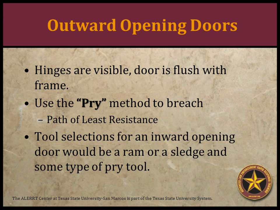 Outward Opening Doors Hinges are visible, door is flush with frame.