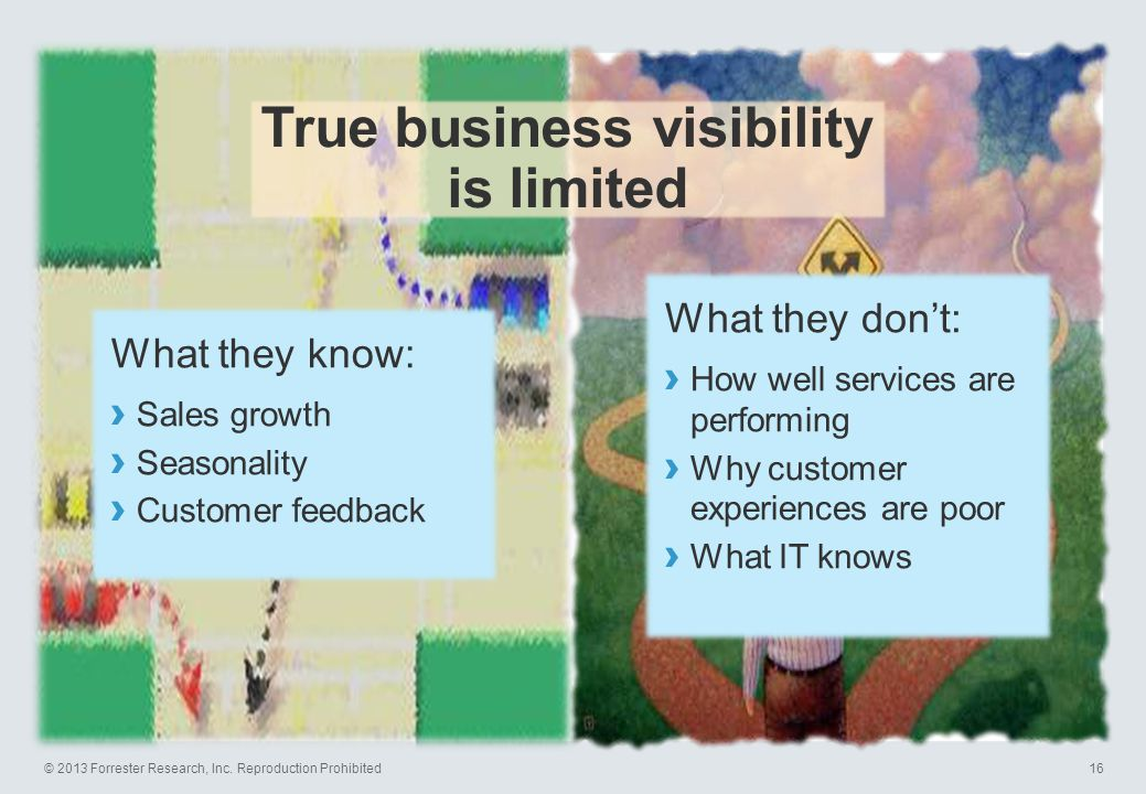 © 2013 Forrester Research, Inc. Reproduction Prohibited16 True business visibility is limited