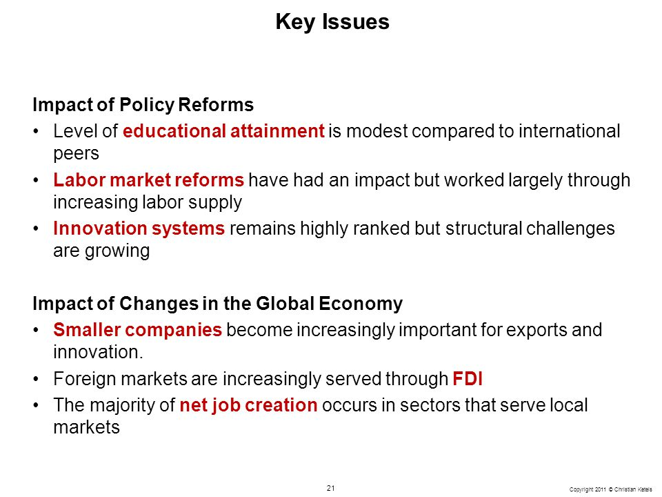 21 Copyright 2011 © Christian Ketels Key Issues Impact of Policy Reforms Level of educational attainment is modest compared to international peers Lab