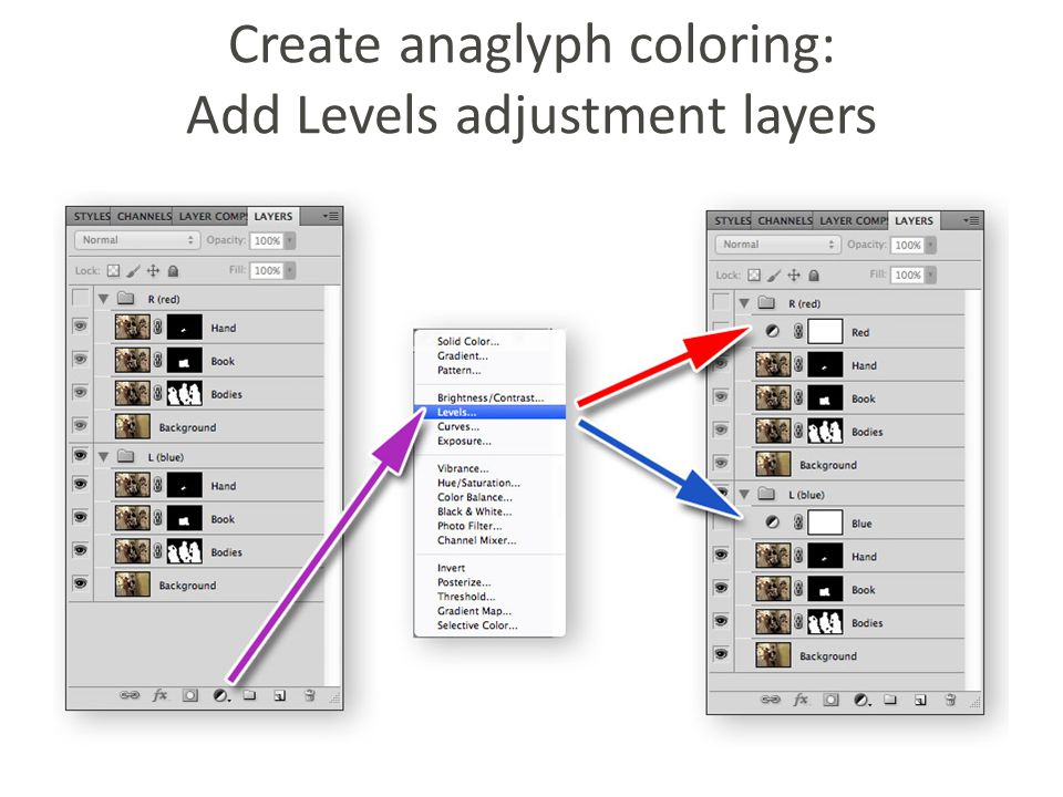 Create anaglyph coloring: Add Levels adjustment layers