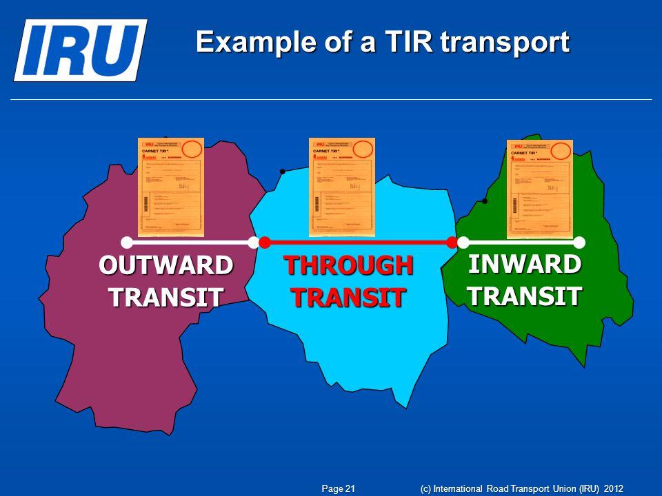 OUTWARD TRANSIT THROUGH TRANSIT INWARD TRANSIT Example of a TIR transport Page 21 (c) International Road Transport Union (IRU) 2012